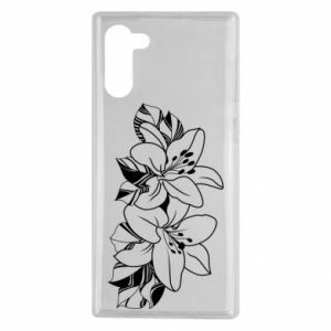 Samsung Note 10 Case Lilies black and white