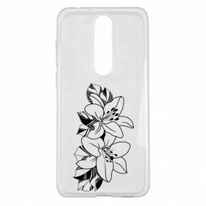 Nokia 5.1 Plus Case Lilies black and white