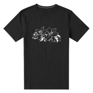 Men's premium t-shirt Lilies black and white