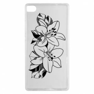 Huawei P8 Case Lilies black and white