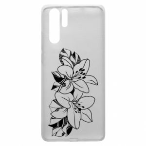 Huawei P30 Pro Case Lilies black and white