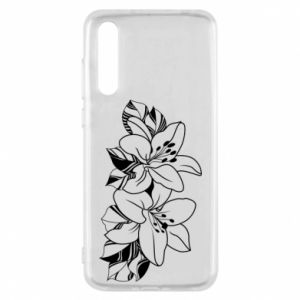 Huawei P20 Pro Case Lilies black and white