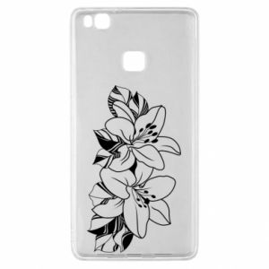 Huawei P9 Lite Case Lilies black and white