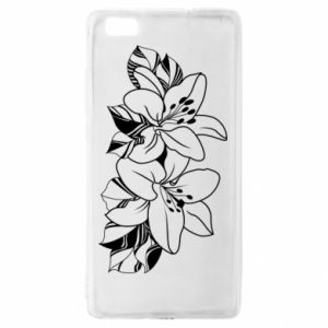 Huawei P8 Lite Case Lilies black and white