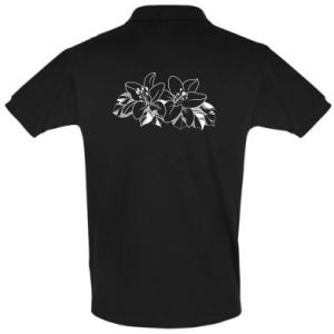 Men's Polo shirt Lilies black and white