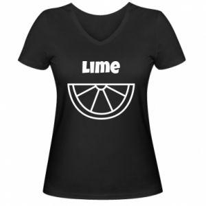 Women's V-neck t-shirt Lime for tequila