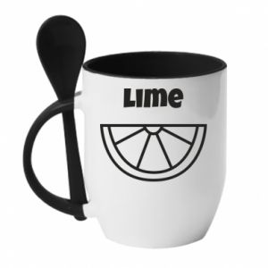 Mug with ceramic spoon Lime for tequila