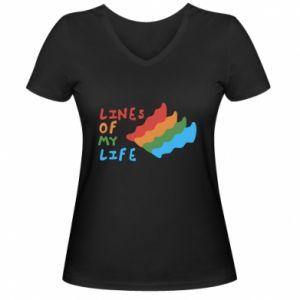 Damska koszulka V-neck Lines of my life