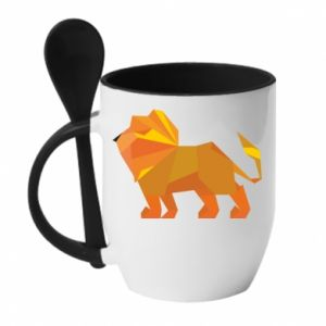 Mug with ceramic spoon Lion abstraction
