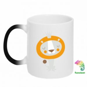 Chameleon mugs Lion with a crown