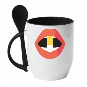 Kubek z ceramiczną łyżeczką Lips and pill