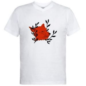 Men's V-neck t-shirt Fox with closed eyes