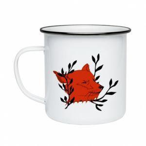 Enameled mug Fox with closed eyes