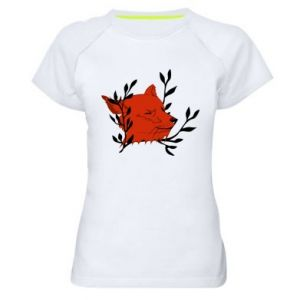 Women's sports t-shirt Fox with closed eyes