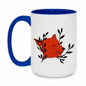 Two-toned mug 450ml Fox with closed eyes