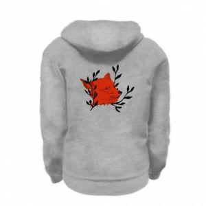 Kid's zipped hoodie % print% Fox with closed eyes