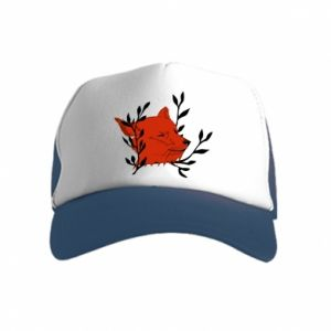 Kid's Trucker Hat Fox with closed eyes