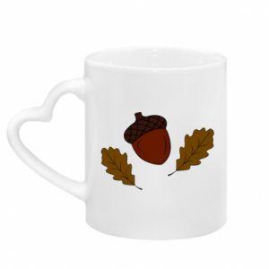 Mug with heart shaped handle Leaves and acorns