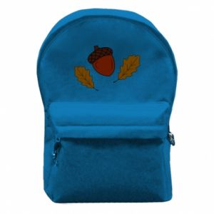 Backpack with front pocket Leaves and acorns