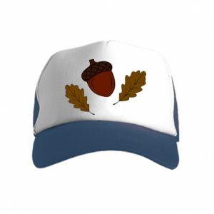 Kid's Trucker Hat Leaves and acorns