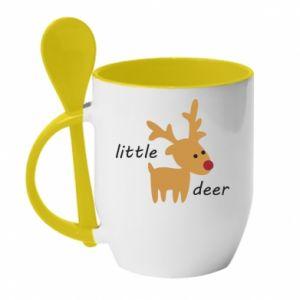 Kubek z ceramiczną łyżeczką Little deer - PrintSalon