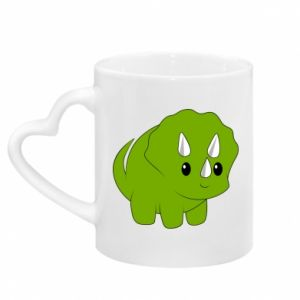 Mug with heart shaped handle Little dinosaur with horns