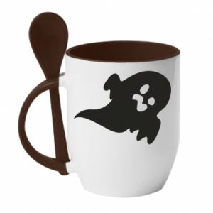 Mug with ceramic spoon Little ghost