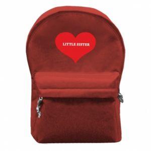 Plecak z przednią kieszenią Little sister, napis w sercu