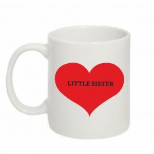 Kubek 330ml Little sister, napis w sercu