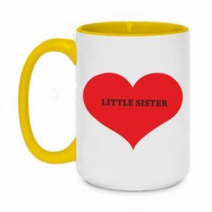 Kubek dwukolorowy 450ml Little sister, napis w sercu