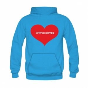 Bluza z kapturem dziecięca Little sister, napis w sercu