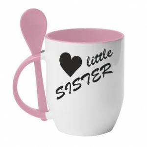 Kubek z ceramiczną łyżeczką Little sister - PrintSalon