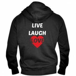 Męska bluza z kapturem na zamek Live laugh love