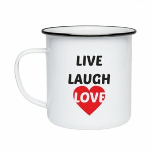Kubek emaliowane Live laugh love