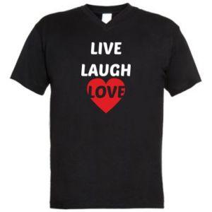 Męska koszulka V-neck Live laugh love