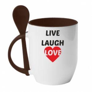 Kubek z ceramiczną łyżeczką Live laugh love