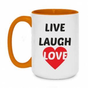 Kubek dwukolorowy 450ml Live laugh love