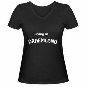 Damska koszulka V-neck Living in Draemland