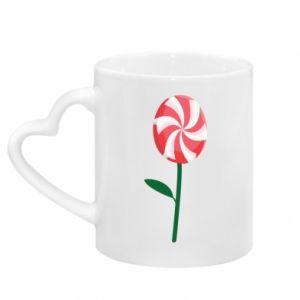 Kubek z uchwytem w kształcie serca Lizak - kwiat
