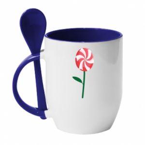 Kubek z ceramiczną łyżeczką Lizak - kwiat - PrintSalon