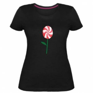 Damska premium koszulka Lizak - kwiat - PrintSalon