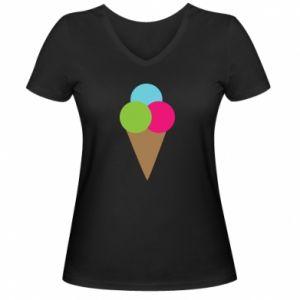 Damska koszulka V-neck Lody - PrintSalon