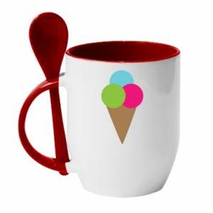 Mug with ceramic spoon Ice cream cone