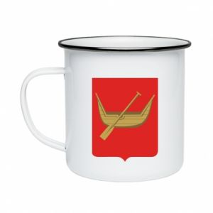Enameled mug Lodz coat of arms
