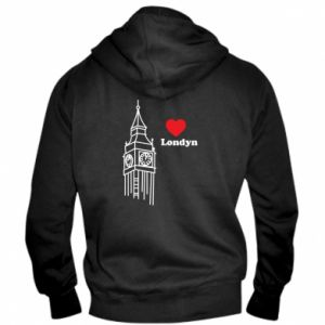Męska bluza z kapturem na zamek Londyn, kocham cię