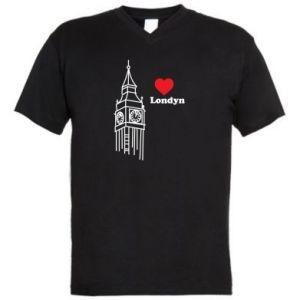 Męska koszulka V-neck Londyn, kocham cię
