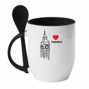 Kubek z ceramiczną łyżeczką Londyn, kocham cię