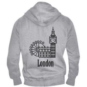 Męska bluza z kapturem na zamek Napis: London - PrintSalon