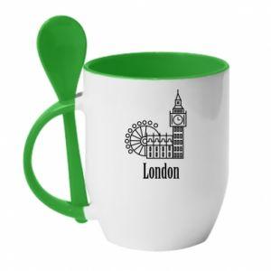 Kubek z ceramiczną łyżeczką Napis: London - PrintSalon