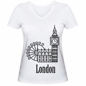 Damska koszulka V-neck Napis: London - PrintSalon